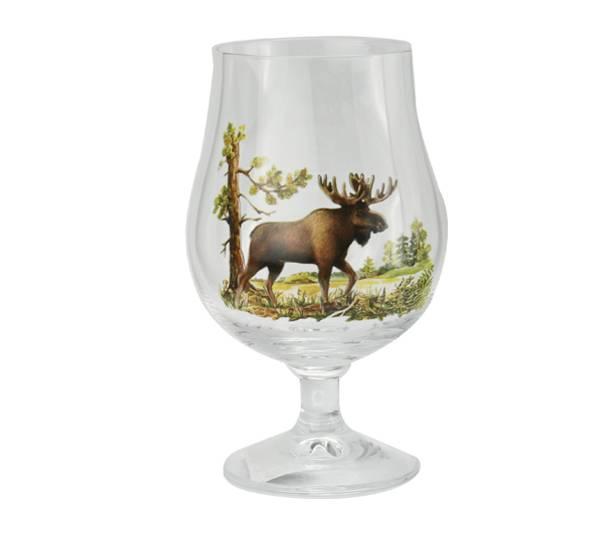 Bilde av Ølglass med stett - elgmotiv