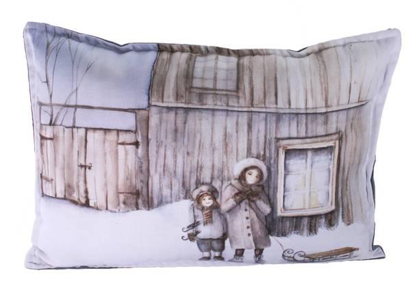 Bilde av Pute med fyll, Barn med kjelke, Vinterbarn