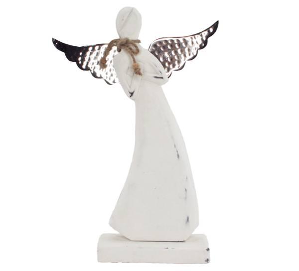 Bilde av Hvit engel med sølv vinger, stor