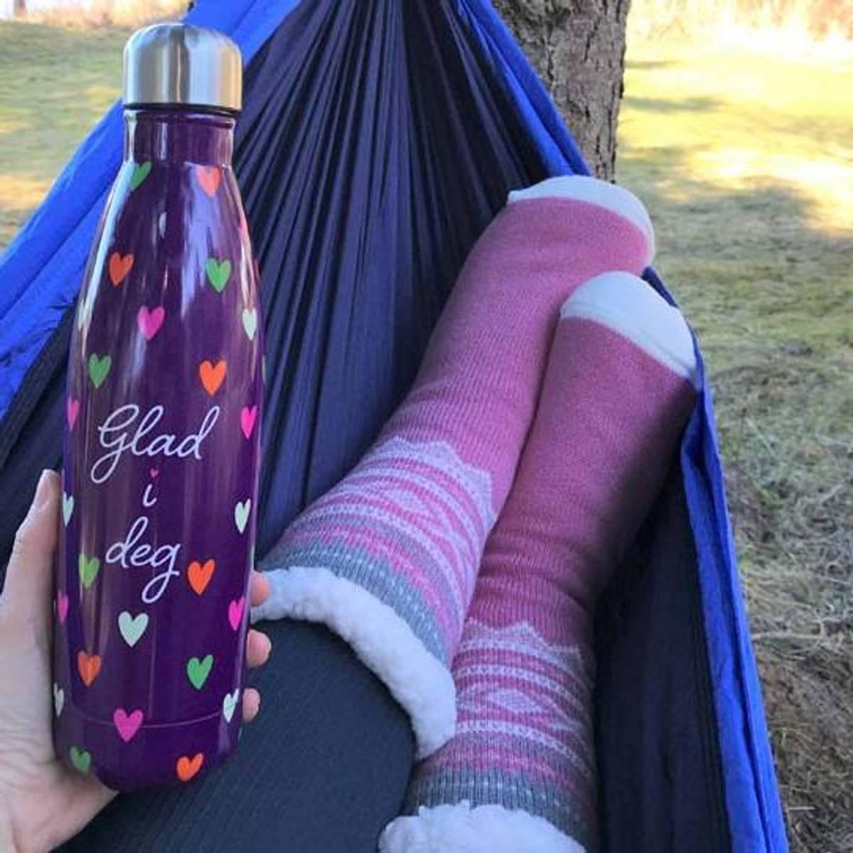Termoflaske, lilla, glad i deg