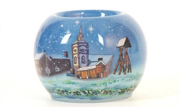Bilde av Telysholder håndmalt  Røros God jul