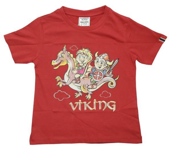 Bilde av Barne T-skjorte vikingbarn rød