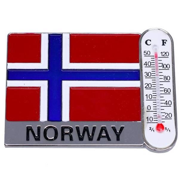 Bilde av Magnet med norsk flagg og termometer