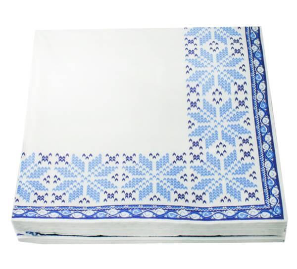 Bilde av Servietter strikkemønster blått
