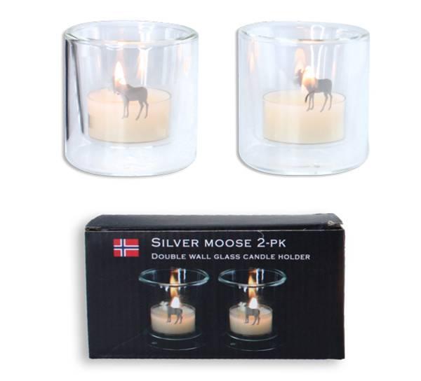 Image of Silver Moose tealight holders