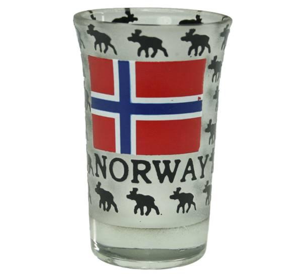 Bilde av Snapsglass, lavt, elg og Norsk flagg