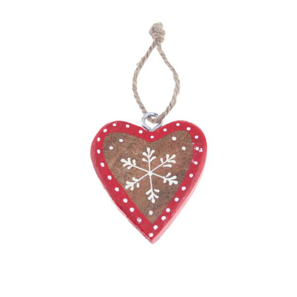 Bilde av Rødt hjerte av tre med hvite prikker, for