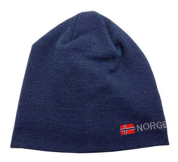 Bilde av Lue, blå med flagg og Norge, 50% ull