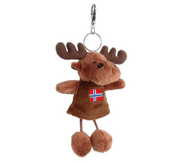 Bilde av Elg nøkkelring med dinglebein, Norsk flagg
