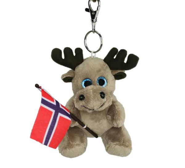 Bilde av Nøkkelring, elg med flagg, grå
