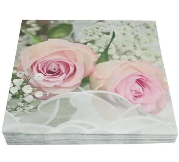 Bilde av Servietter, rose med brudeslør