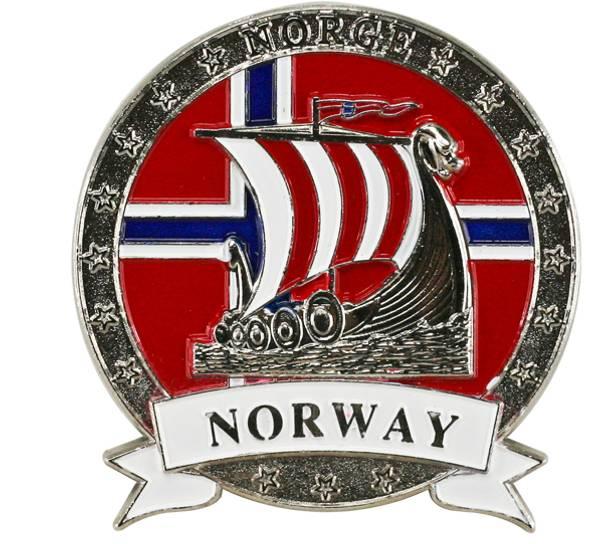 Bilde av Magnet i metall med sølv vikingskip og Norway