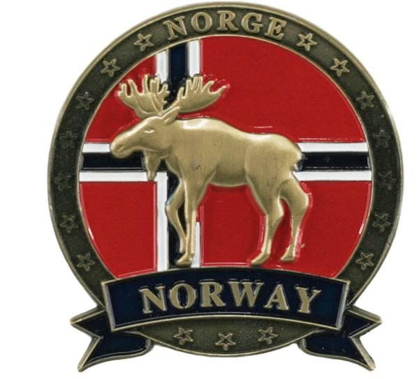 Bilde av Magnet av metall med gull elg og Norway