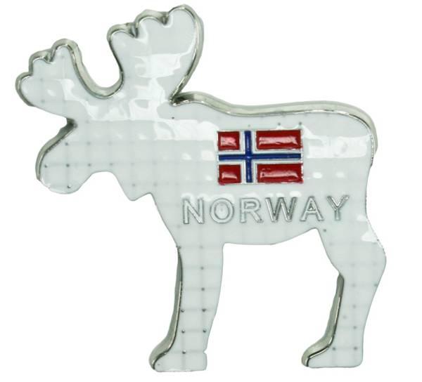 Bilde av Magnet, metall elg hvit Norway