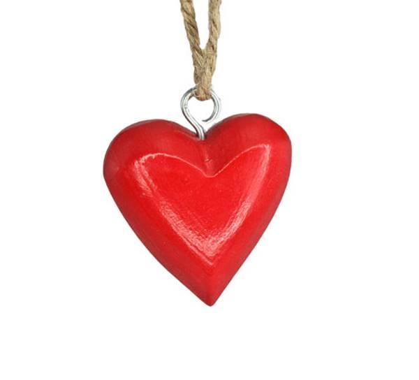 Bilde av Lite rødt hjerte av tre, for oppheng. F-design.