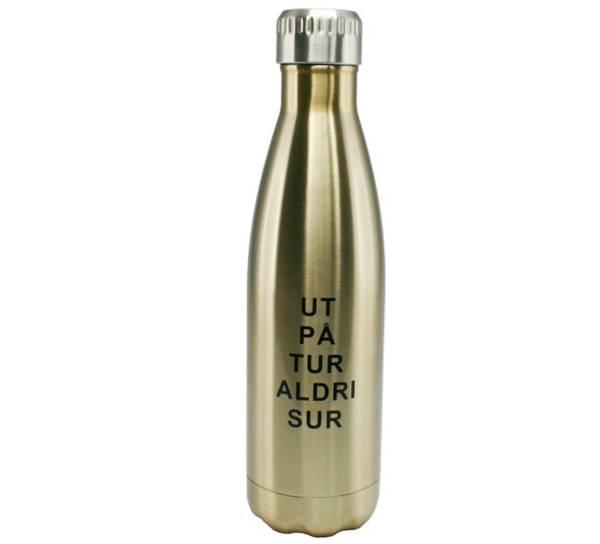 Bilde av Termoflaske, gull. Ut på tur aldri sur.